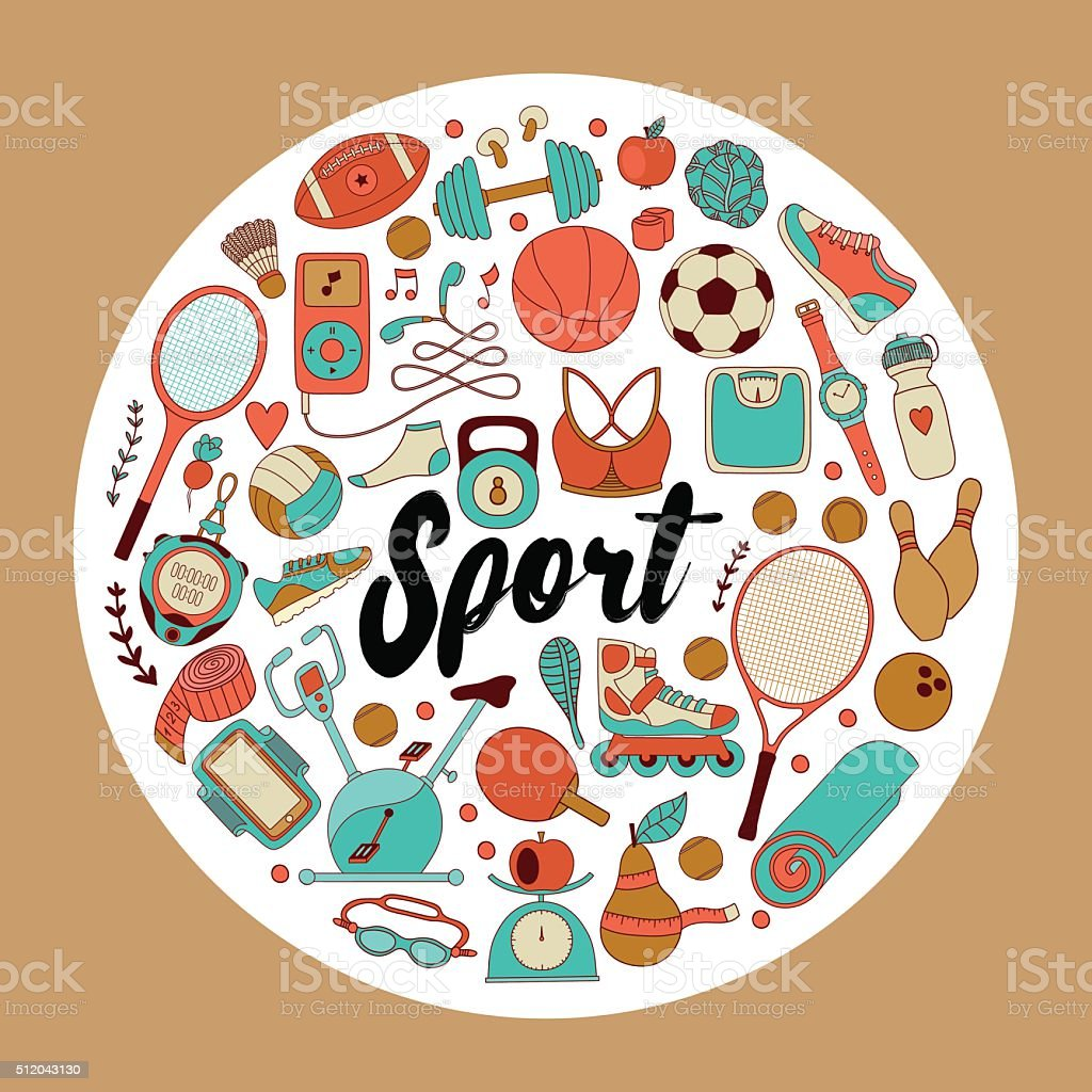 Vector handdrawn illustration set of fitness and sport elements in...
