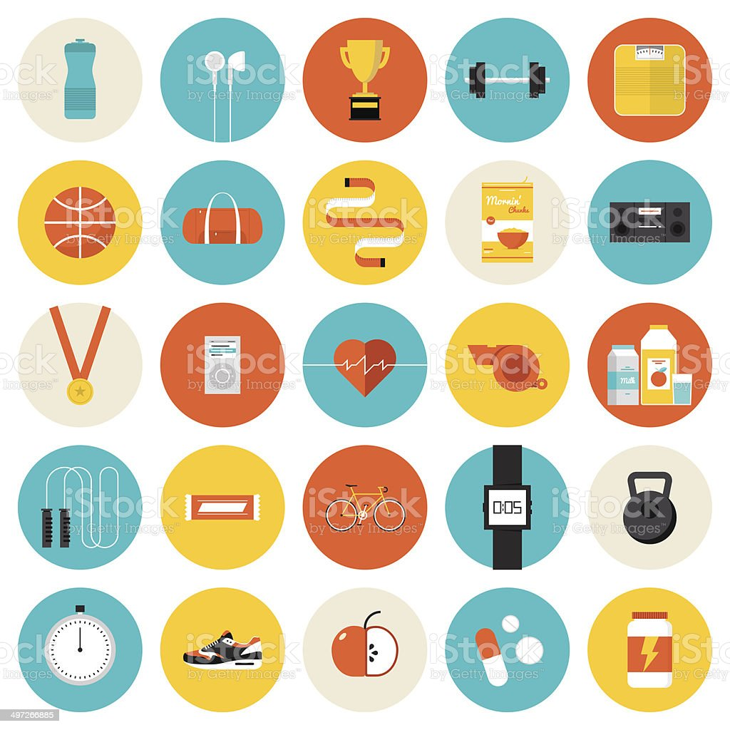 Fitness and sport flat icons set vector art illustration