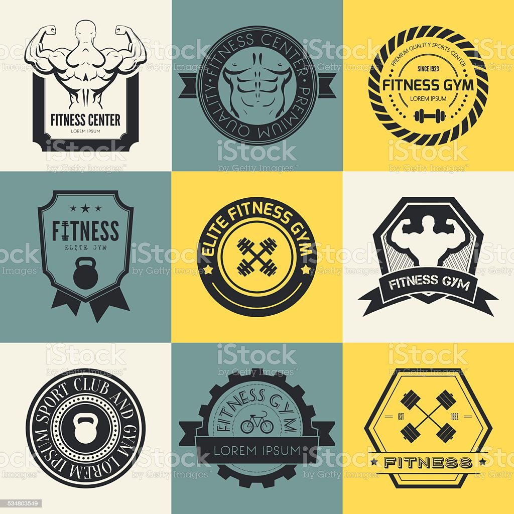 Fitness and Sport Gym Logos vector art illustration