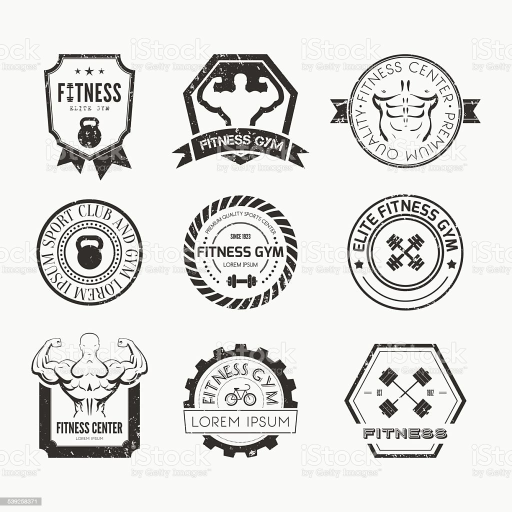 Fitness and Sport Gym Logos vector art illustration