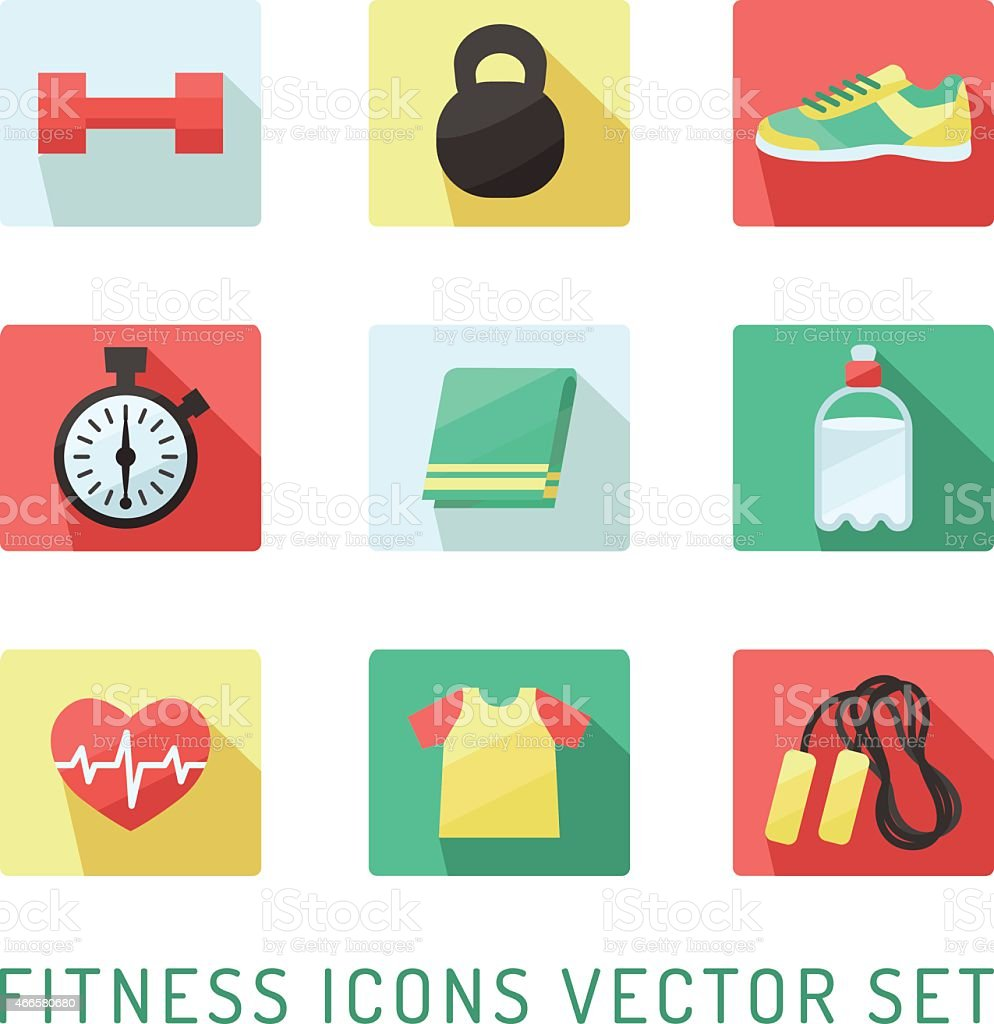 Fitness and sport icon vector set. Flat style design. vector art illustration