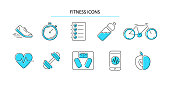 Fitness and Sport icons set. Healthy lifestyle outline icons collection. Vector illustration.