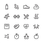 16 line black on white icons / Fitness and Sport Set #99 Pixel Perfect Principle - all the icons are designed in 48x48pх square, outline stroke 2px.  First row of outline icons contains:  Water Bottle, Distance Sign, Sports Shoe, Muscular build;  Second row contains:  Running Person, Dumbbell icon, Healthy Eating, Swimming Pool;  Third row contains:  Weights Scale, Tape Measure, Cardio load, Waist measuring;   Fourth row contains:  Sleeping, Stopwatch, Lotus Position (Yoga), Apple - Fruit.  Complete Inlinico collection - https://www.istockphoto.com/collaboration/boards/2MS6Qck-_UuiVTh288h3fQ