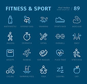 Fitness and Sport - 20 three-color outline icons with captions / Pixel Perfect Set #89 /Icons are designed in 48x48pх square, outline stroke 2px.  First row of outline icons contains:  Water Bottle, Distance Sign, Swimming, Sports Shoe, Muscular;  Second row contains:  Walking, Stopwatch, Eating, Dumbbell, Waist;  Third row contains:  Weights, Running, Tape Measure, Pulse Trace, Stretching;  Fourth row contains: Cycling, Swimming Pool, Yoga, Sleeping, Diet.  Complete Captico icons collection - https://www.istockphoto.com/collaboration/boards/L98ewPMHpUStg1uF0pmcYg