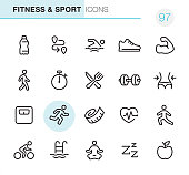 20 Outline Style - Black line - Pixel Perfect icons / Fitness & Sport Set #97 Icons are designed in 48x48pх square, outline stroke 2px.  First row of outline icons contains:  Water Bottle, Distance Sign, Swimming, Sports Shoe, Muscular build;  Second row contains:  Walking, Stopwatch, Healthy Eating, Dumbbell icon, Waist measuring;  Third row contains:  Weights Scale, Running Person, Tape Measure, Cardio load, Stretching ;   Fourth row contains:  Cycling, Swimming Pool, Lotus Position (Yoga), Sleeping, Apple - Fruit.  Complete Primico collection - https://www.istockphoto.com/collaboration/boards/NQPVdXl6m0W6Zy5mWYkSyw