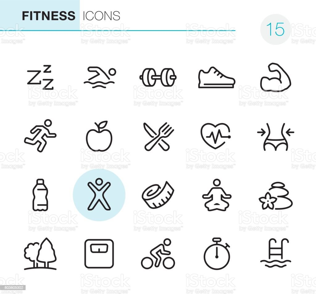 Fitness and Sport - Pixel Perfect icons vector art illustration