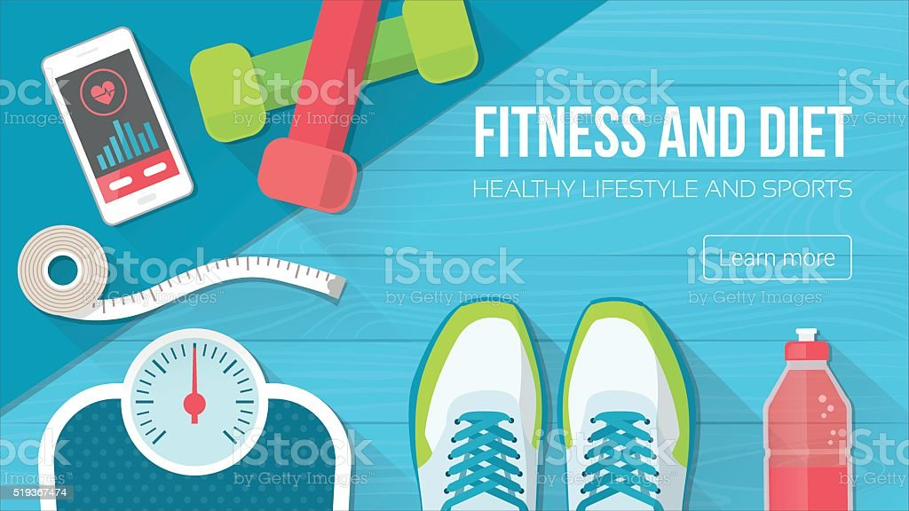Fitness and sport vector art illustration
