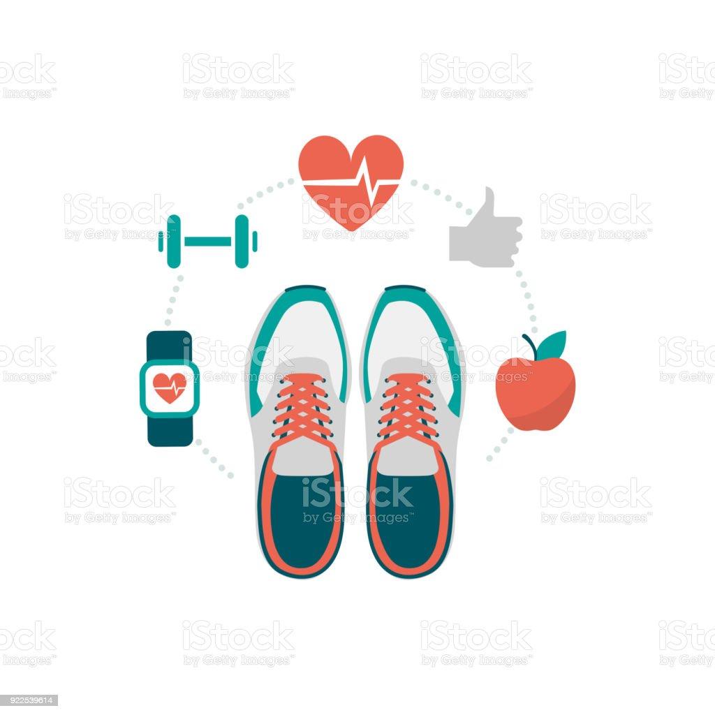 Fitness and sport vector art illustration