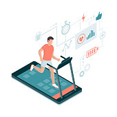 Man running on a smartphone treadmill and exercising: fitness app and sports concept