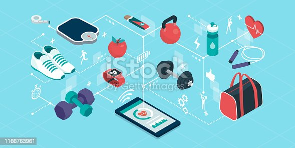 Fitness and sports equipment in a smartphone app, isometric objects connecting together, workout and fitness tracker app