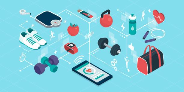 ilustrações de stock, clip art, desenhos animados e ícones de fitness and sports equipment in a smartphone app - fitness
