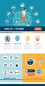 Fitness, sports, healthy diet and exercise infographics with man running and abstract health concepts