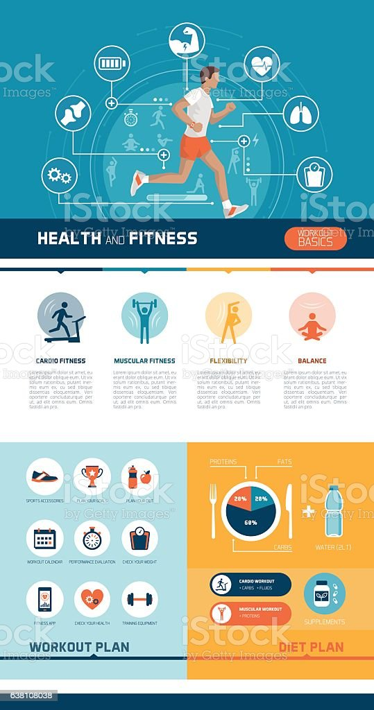 Fitness and sports infographic - ilustración de arte vectorial