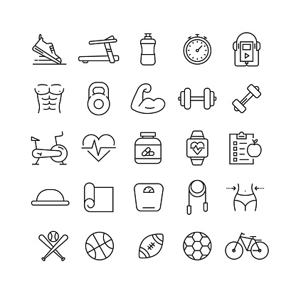 Fitness and Sports Related Vector Line Icons clipart