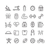 Fitness and Sports Related Vector Line Icons