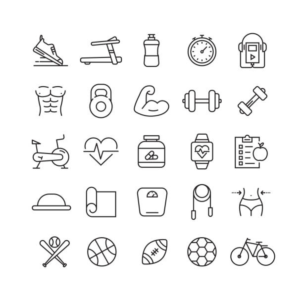 Fitness and Sports Related Vector Line Icons Fitness and Sports Related Vector Line Icons weight loss stock illustrations