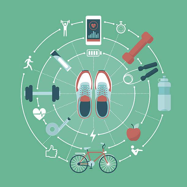 fitness und sport  - sportmedizin stock-grafiken, -clipart, -cartoons und -symbole