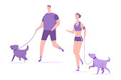 Fitness and sports with dogs vector flat illustration.