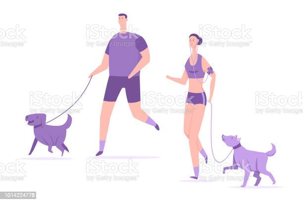 Fitness and sports with dogs young couple run with pets vector flat vector id1014224778?b=1&k=6&m=1014224778&s=612x612&h=rzva9vrpyjqlhhqrfopxkmho14yyphok3 zcs0yuxo4=