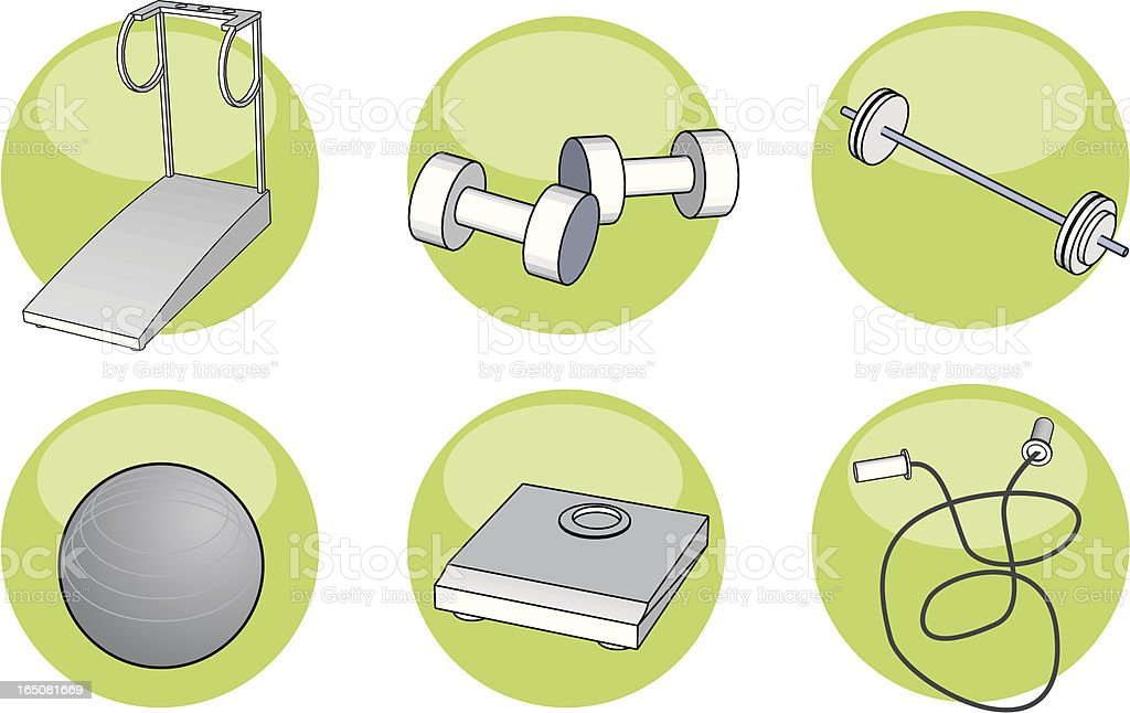 Fitness and training equipment illustrations and icons royalty-free stock vector art