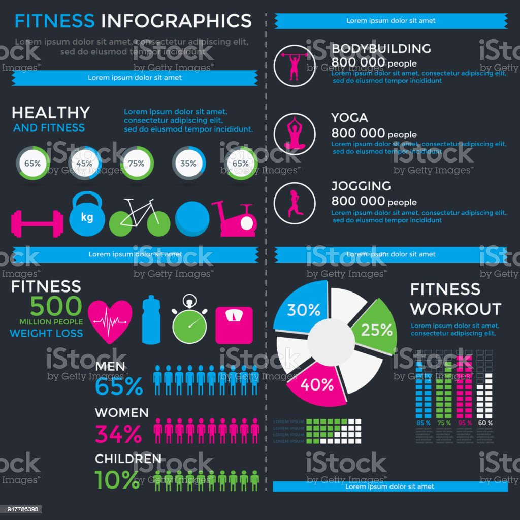 Fitness And Wellness Infographic Template Stock Vector Art More