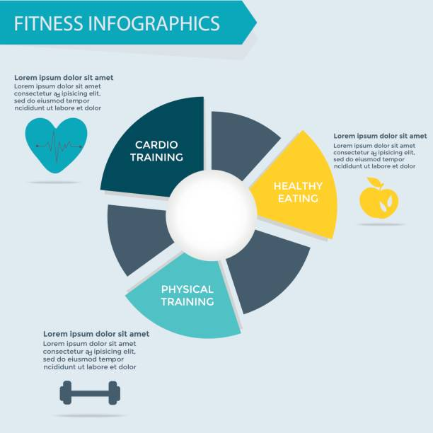 fitness and wellness infographics template - personal trainer stock illustrations, clip art, cartoons, & icons