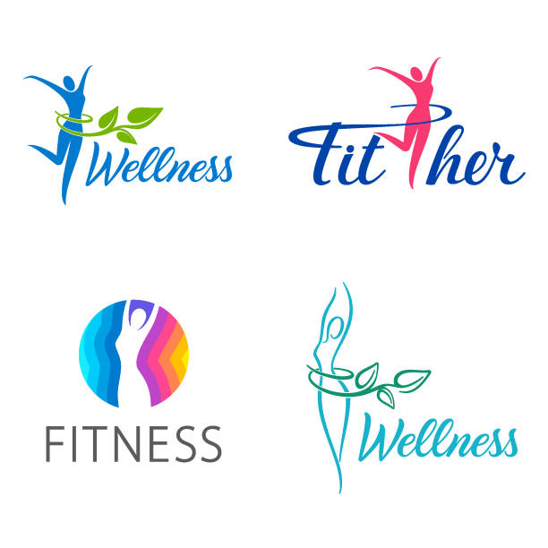 Fitness and wellness vector design template Fitness and wellness vector design template weight loss stock illustrations