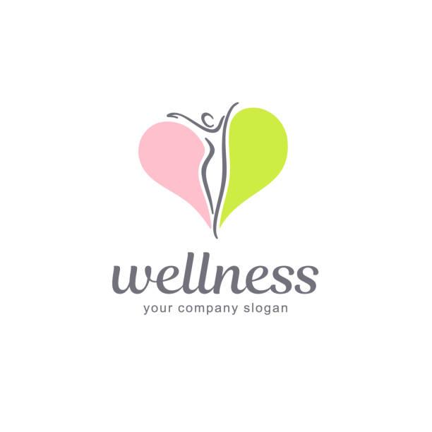 Fitness and wellness vector emblem design. vector art illustration