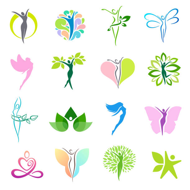 fitness and wellness vector icon design set - massage stock illustrations