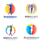 Fitness and wellness vector template. Body balance icon set
