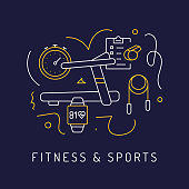Fitness and Workout Concept, Modern Line Art Icons Background. Linear Style Vector Illustration.
