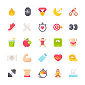 25 Fitness and Workout Flat Icons.