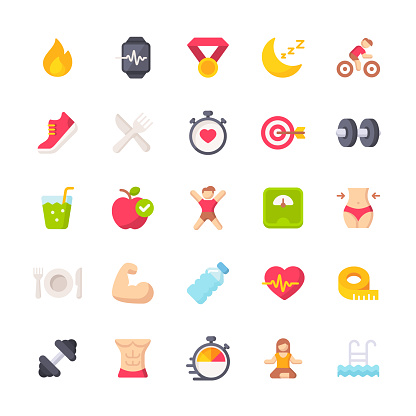 Fitness and Workout Flat Icons. Material Design Icons. Pixel Perfect. For Mobile and Web. Contains such icons as Bodybuilding, Heartbeat, Swimming, Cycling, Running, Diet.