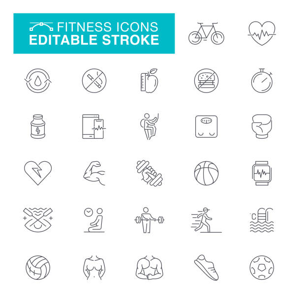 bildbanksillustrationer, clip art samt tecknat material och ikoner med fitness och träning ikoner - calendar workout
