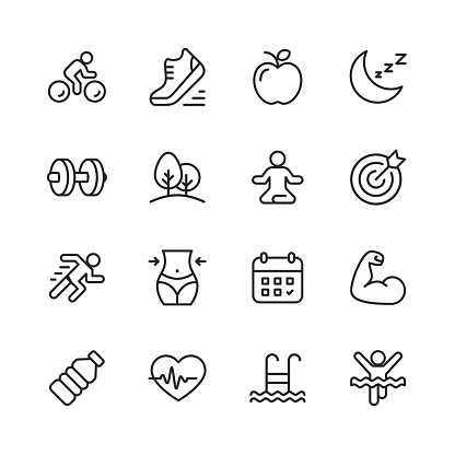 Fitness and Workout Line Icons. Editable Stroke. Pixel Perfect. For Mobile and Web. Contains such icons as Running, Swimming, Exercising, Gym, Diet.