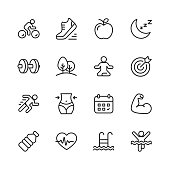 16 Fitness and Workout Line Icons.