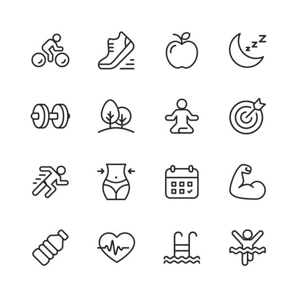 fitness and workout line icons. editable stroke. pixel perfect. for mobile and web. contains such icons as running, swimming, exercising, gym, diet. - wellness stock illustrations