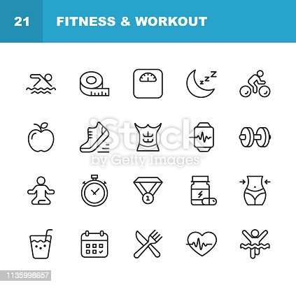 20 Fitness and Workout Line Icons.