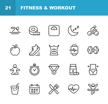Fitness and Workout Line Icons. Editable Stroke. Pixel Perfect. For Mobile and Web. Contains such icons as Fitness, Workout, Swimming, Cycling, Running, Diet.