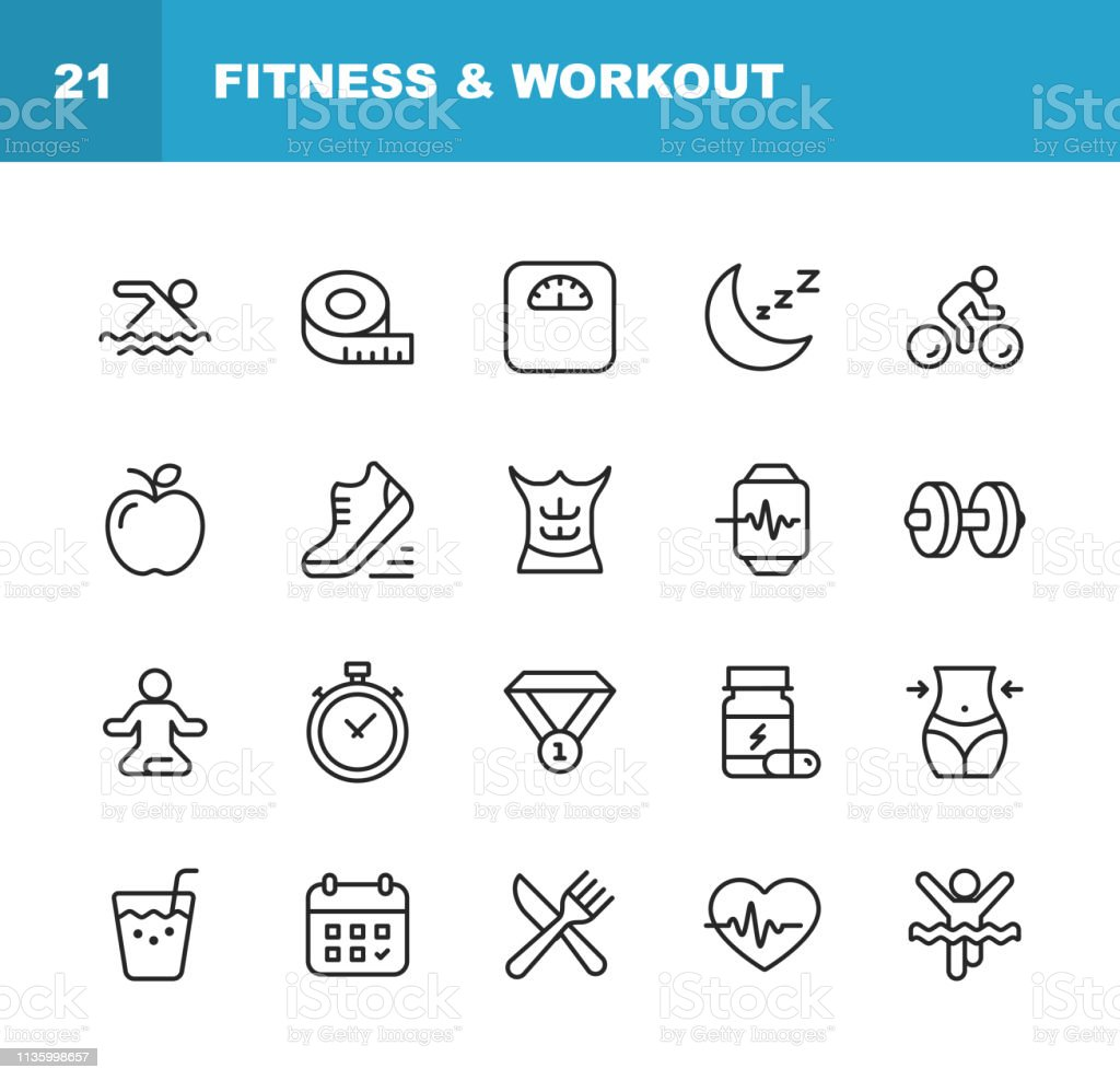 Fitness and Workout Line Icons. Editable Stroke. Pixel Perfect. For Mobile and Web. Contains such icons as Fitness, Workout, Swimming, Cycling, Running, Diet. vector art illustration