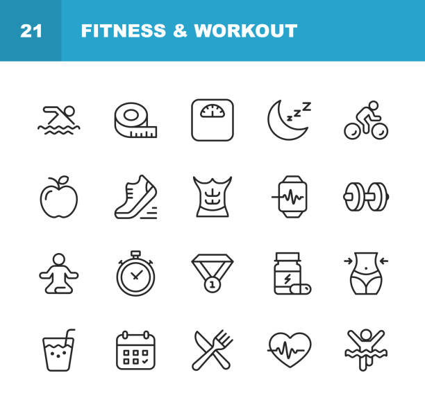 Fitness and Workout Line Icons. Editable Stroke. Pixel Perfect. For Mobile and Web. Contains such icons as Fitness, Workout, Swimming, Cycling, Running, Diet. 20 Fitness and Workout Line Icons. weight loss stock illustrations