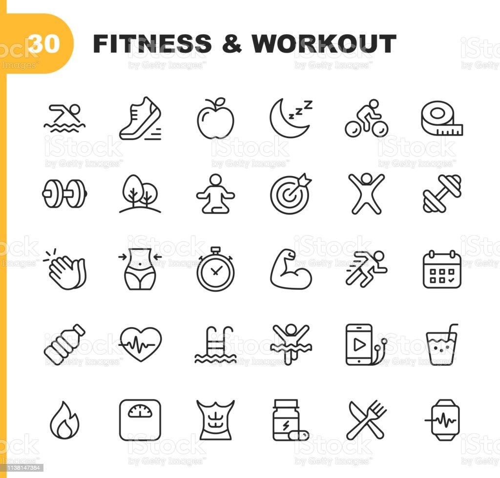 Graphismes de ligne de fitness et d'entraînement. Contour modifiable. Pixel parfait. Pour mobile et Web. Contient des icônes telles que la musculation, battement de coeur, natation, cyclisme, en cours d'exécution, régime. - clipart vectoriel de Aliment libre de droits