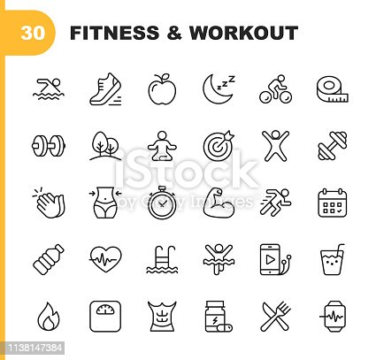 30 Fitness and Workout Line Icons.