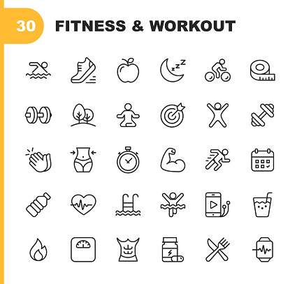 Fitness and Workout Line Icons. Editable Stroke. Pixel Perfect. For Mobile and Web. Contains such icons as Bodybuilding, Heartbeat, Swimming, Cycling, Running, Diet. clipart