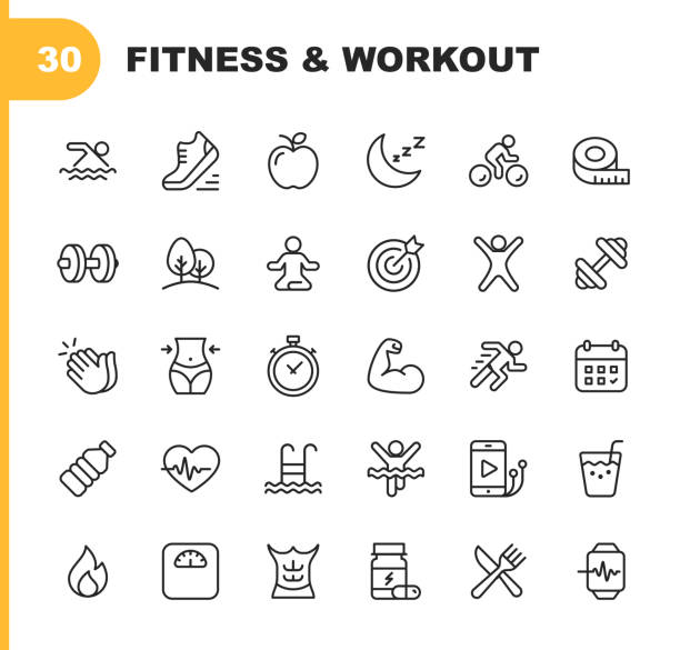 Fitness and Workout Line Icons. Editable Stroke. Pixel Perfect. For Mobile and Web. Contains such icons as Bodybuilding, Heartbeat, Swimming, Cycling, Running, Diet. 30 Fitness and Workout Line Icons. exercising stock illustrations