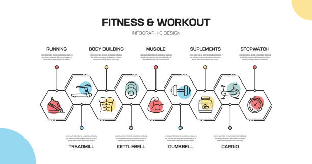 fitness and workout related line infographic design - workout calendar stock illustrations, clip art, cartoons, & icons