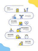 istock Fitness and Workout Related Process Infographic Template. Process Timeline Chart. Workflow Layout with Linear Icons 1283014140