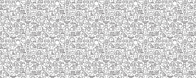 Fitness and Workout Seamless Pattern and Background with Line Icons