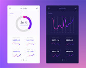 Fitness app. Ui ux design. UI design concept with web elements of workout application for mobile and tablet devices isolated vector illustration. EPS 10