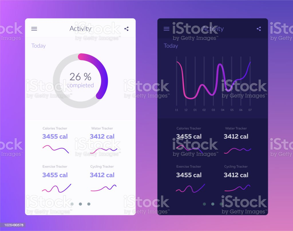 Fitness app. UI design concept with web elements of workout application for mobile and tablet devices vector art illustration